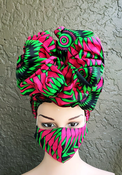 Matching  Mask-Headwrap Set - Fuchsia/Green