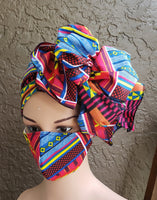 Matching  Mask-Headwrap Set - Pink/Blue