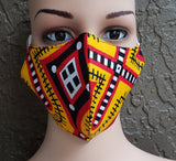 Cotton Printed Mask- Yellow/Red