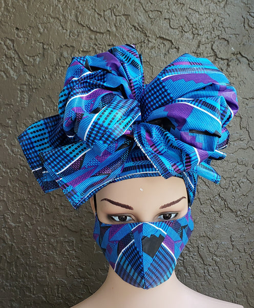 Matching  Mask-Headwrap Set - Black/Blue kente