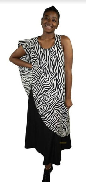 Women Magic Dress- Black/Zebra