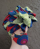 Matching  Mask-Headwrap Set - Sage