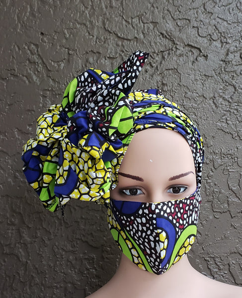Matching  Mask-Headwrap Set - Lime