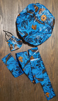 African Satin Lined Hair Bonnet/Headwrap /Head Band/Mask Set - Blue/Orange