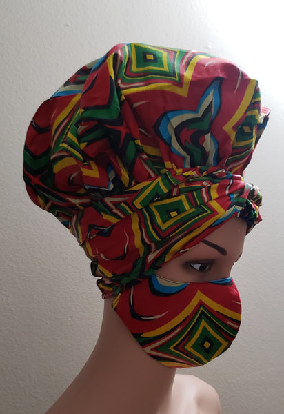 African Satin Lined Hair Bonnet/Headwrap /Head Band/Mask Set - Green/Fuchsia
