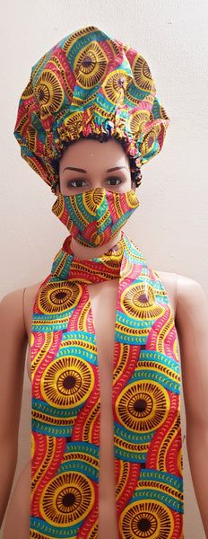 African Satin Lined Hair Bonnet/Headwrap /Head Band/Mask Set
