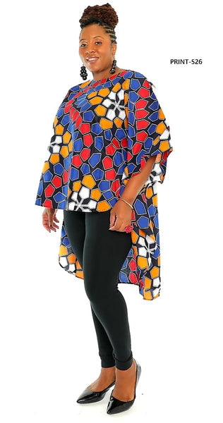 7551 - African Print High Low Poncho Blouse