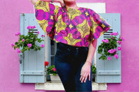 2037 -  Crop Top/ African Print - Pink/Yellow