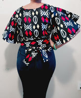 2037 -  Crop Top/ African Print - Black/Red Tribal