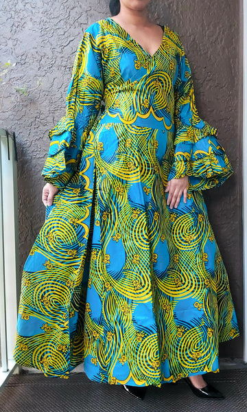 70-Woman's Long African Print Wrap Dress- Yellow/Turquoise