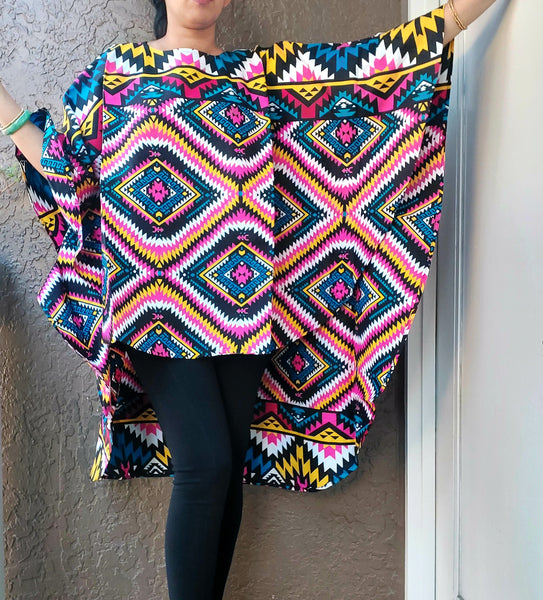 7551 African Print High Low Poncho Blouse- Pink