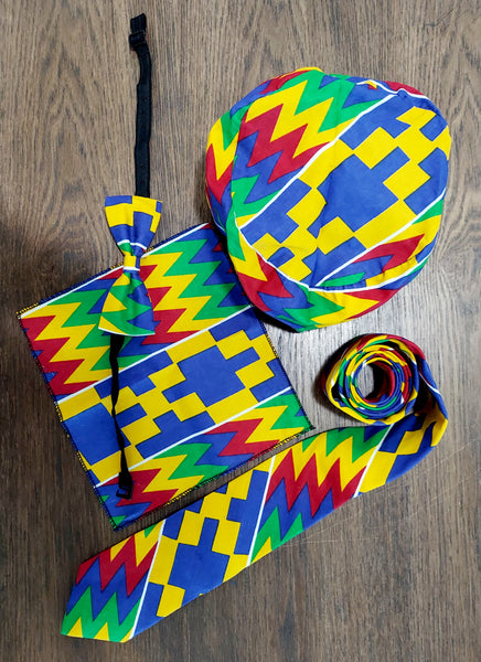 4 Pcs Bow tie Set- Blue Kente