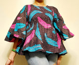 19 Ladie's African Print Smock & Flare Blouse- Brown/Feathers