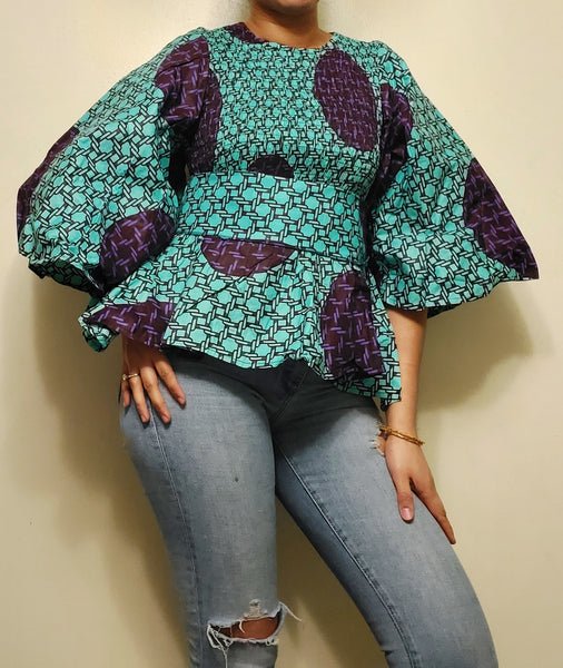 19 Ladie's African Print Smock & Flare Blouse- Turquoise/Purple