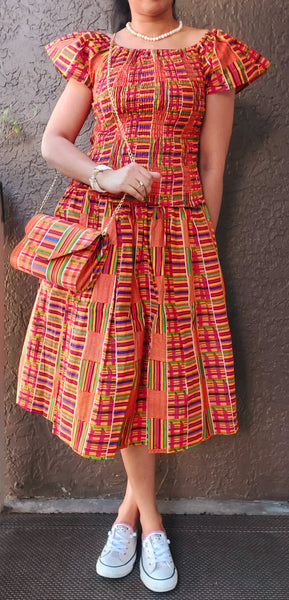 African Print Mid Length Skirt |Blouse|Scarf|Mask Set- Yellow kente