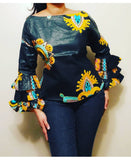 18842- African Print Long Ruffle/Sleeve Blouse- Black/Yellow