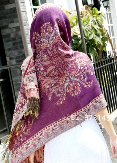 Pashmina Shawls/Head Scarfs/Reversible/Shimmery/Printed/-Paisley2