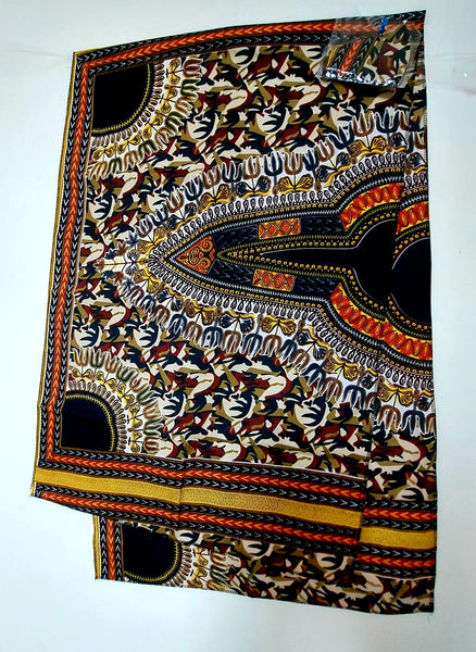 African Dashik Print  Mask/Headscarf Set - Black/Burgundy