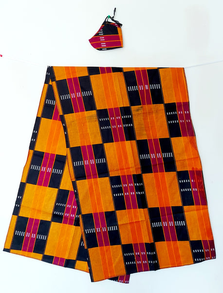 African Kente  Mask/Headscarf Set - Black/Burgundy/Orange