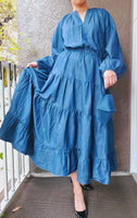 Women Denim Long Tiered Dress - Indigo Blue