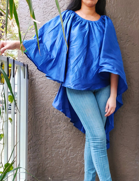 905 - Multi Wearable  High Low Poncho Blouse / Skirt- Royal Blue
