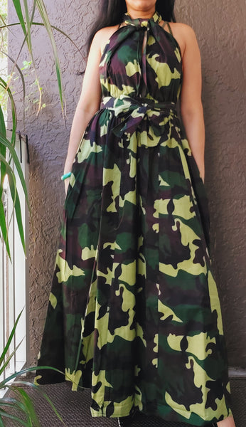 901- Convertible Palazzo / Romper / Jumpsuit- Green Camoflage