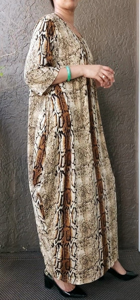 Printed Long Jersey Dress/ Mid length Sleeves- Snake