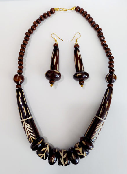 Natural Carved Wood Necklace & Earrings Set