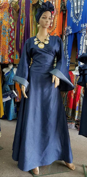 Wrap dress with bell sleeves