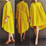 AN-111 Women Shirt Dress/Back Bow- Yellow