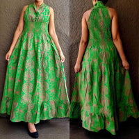 #5005 LONG SMOCKED DRESS.