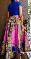 #7001 Women Long Maxi Skirt- Pink Dashiki