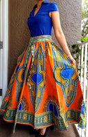 #7001 Women Long Maxi Skirt- Orange Dashiki