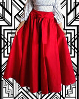 #7001- SOLID LONG MAXI SKIRT- RED