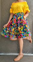 7008-Short Printed Flared Skirt- Multi Color