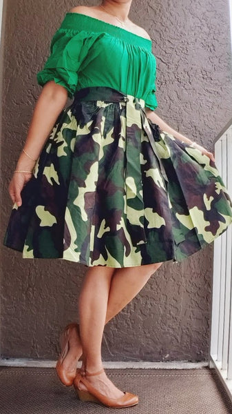 7008 Short Printed Flared Skirt- Green Camouflage