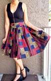 #7008 Women Short Printed Flared Skirt- Navy/Red