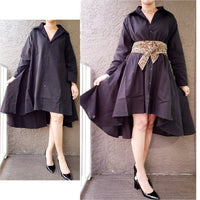 #7042 Women  Button Down Shirt/ Dress- Black