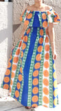 7050-  Long Tube Maxi Dress- Blue/Orange