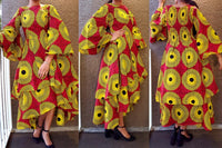 #7077 Bell Sleeve Layered Dress-Red/yellow