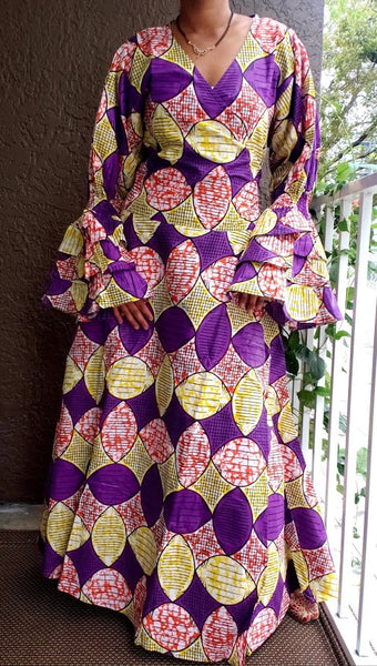 #70-Woman's Long Wrap Dress- Purple/Yellow