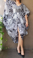 Woman Poncho Dress/ Front Slit - Black/ White