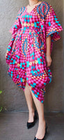 Woman Poncho Dress/ Front Slit - Pink