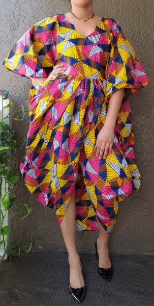 Woman Poncho Dress/ Front Slit -Pink/Yellow