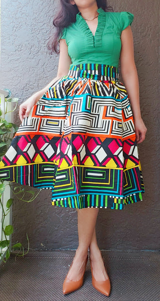 #7012- Woman Mid Length Maxi Skirt- Multi Color