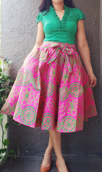 #7012- Woman Mid Length Maxi Skirt- Pink/Green