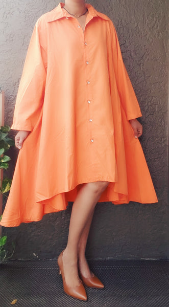 AA20-666 Solid Hi/Lo Shirt Dress - Orange