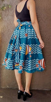 1006 Women Mid Length Printed Skirt - Sea Blue