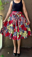 1006 Women Mid Length Printed Skirt - Red/Yellow