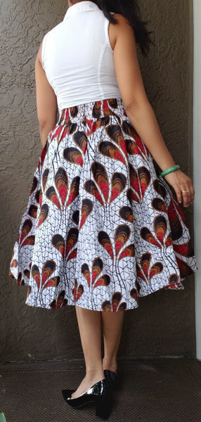 1006 Women Mid Length Printed Skirt - White/Red Peacock